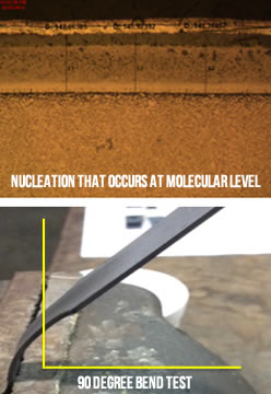cut-away of nucleation and a 90 degree bend test after the Nanowear process